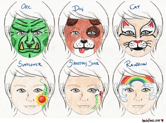 photo relating to Simple Face Painting Designs Printable referred to as Encounter-Portray Types (3 of 3) - 2 lof bees