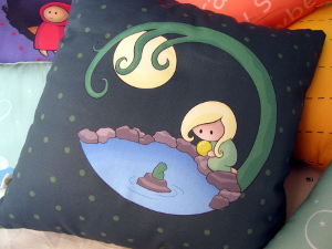 Girl At The Pond Cushion