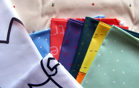 Our snazzy custom printed fabrics.