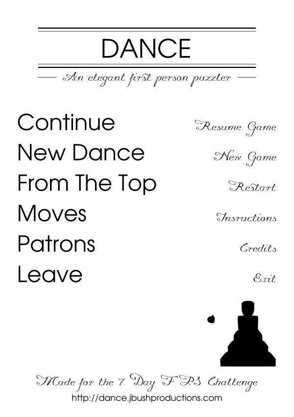 Menu concept for Dance
